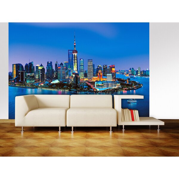 Ideal Décor Shanghai Skyline Wall Mural by Brewster Home Fashions