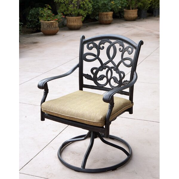 Windley Swivel Patio Dining Chair with Cushion by Fleur De Lis Living
