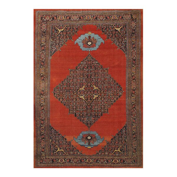 One-of-a-Kind Hadia Hand-Knotted Rust 9'6 x 14' Area Rug