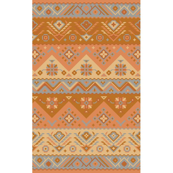 Double Mountain Hand Woven Wool Orange Area Rug by Loon Peak