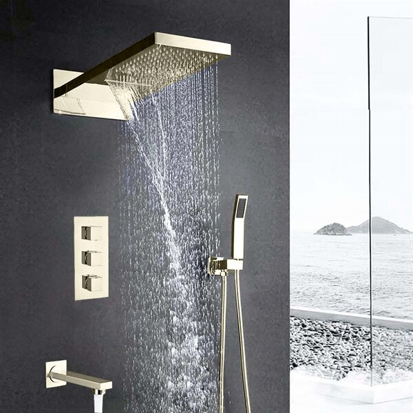 Florence Wall Mount Waterfall Rainfall Volume Control Complete Shower System With Rough-in Valve By FontanaShowers