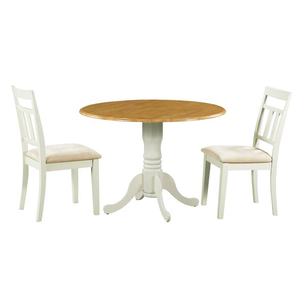 Ansonia 3 Piece Drop Leaf Solid Wood Dining Set by August Grove