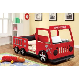 Fire Engine Twin Car Bed With Shelves