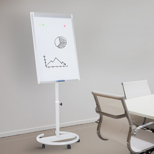 Magnetic Rolling Whiteboard Easel with Wheels, 28 x 40 by Outsunny