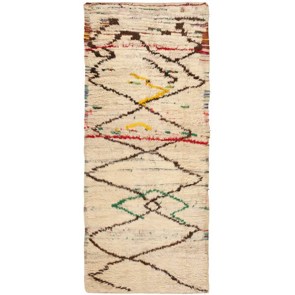 One-of-a-Kind Moroccan Hand-Knotted 1950s Moroccan Ivory 4' x 9'6 Runner Wool Area Rug
