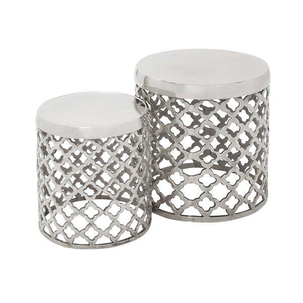 2 Piece Round Lattice Drum Stool Set by Urban Designs