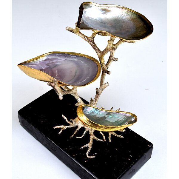 3-Level Abalone on Tree Bookend by Rosecliff Heights