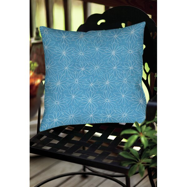 Funky Florals Daisy Sketch Indoor/Outdoor Throw Pillow by Manual Woodworkers & Weavers