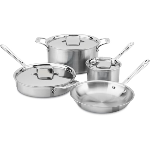 D5 Brushed Stainless Steel 7 Piece Cookware Set by All-Clad