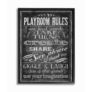 'Playroom Rules Black and White' Framed Textual Art by Stupell Industries