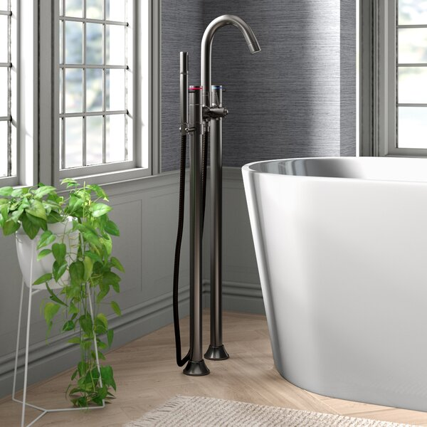 Concord Double Handle Floor Mount Tub Filler With Hand Shower By Kingston Brass