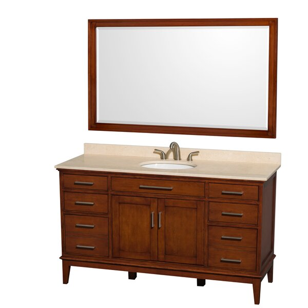 Hatton 60 Single Light Chestnut Bathroom Vanity Set with Mirror by Wyndham Collection