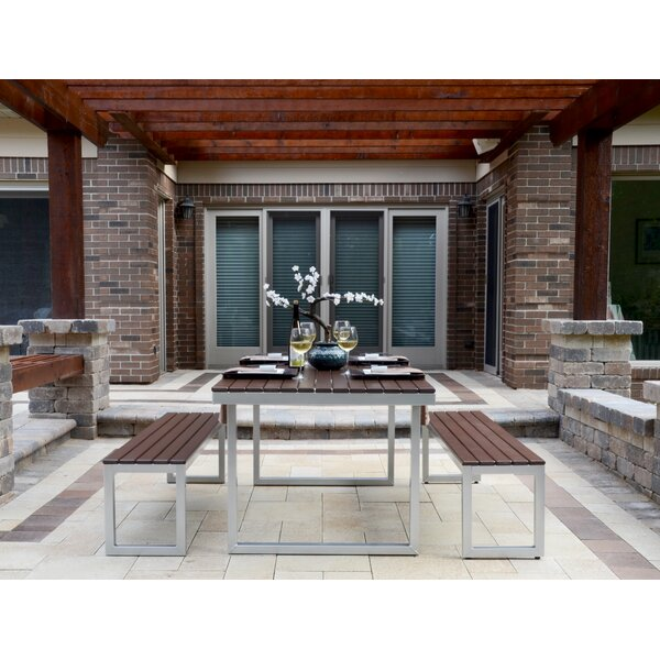 Alissa Outdoor Rectangular 3 Piece Dining Set by Longshore Tides