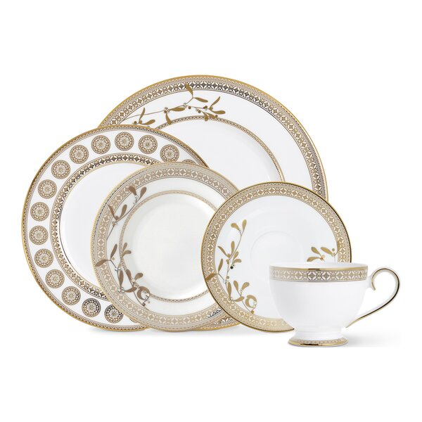 Golden Leaves 5 Piece Bone China Place Setting Set, Service for 1