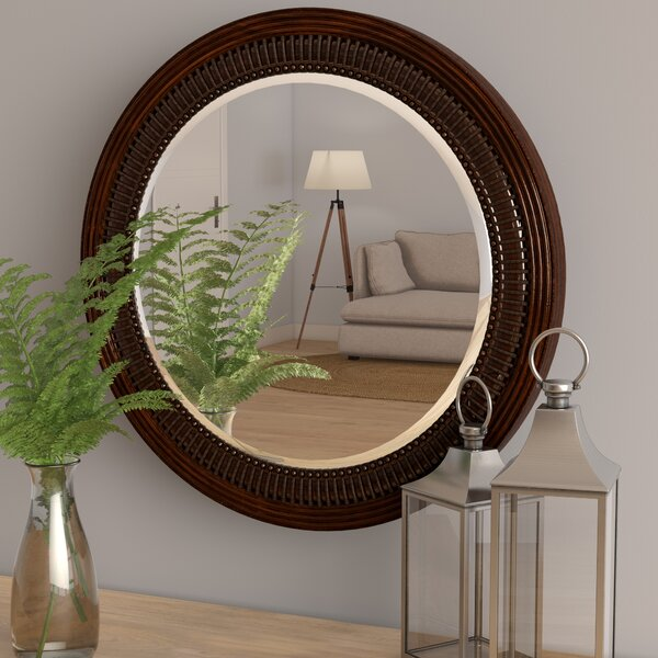 Lila Round Brown Wall Mirror by Beachcrest Home