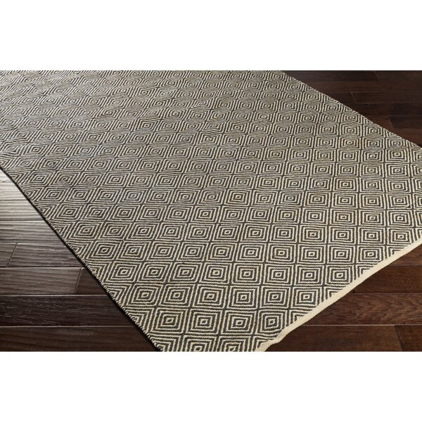 Waverly Hand-Woven Neutral/Black Area Rug by Bungalow Rose