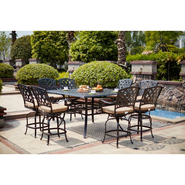 Milsap 9 Piece Bar Height Dining Set with Cushions by Canora Grey