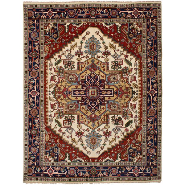One-of-a-Kind Doerr Hand-Knotted Wool Cream/Red Area Rug by Isabelline
