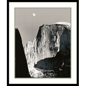 Moon Over Half Dome by Ansel Adams Framed Photographic Print by Amanti Art