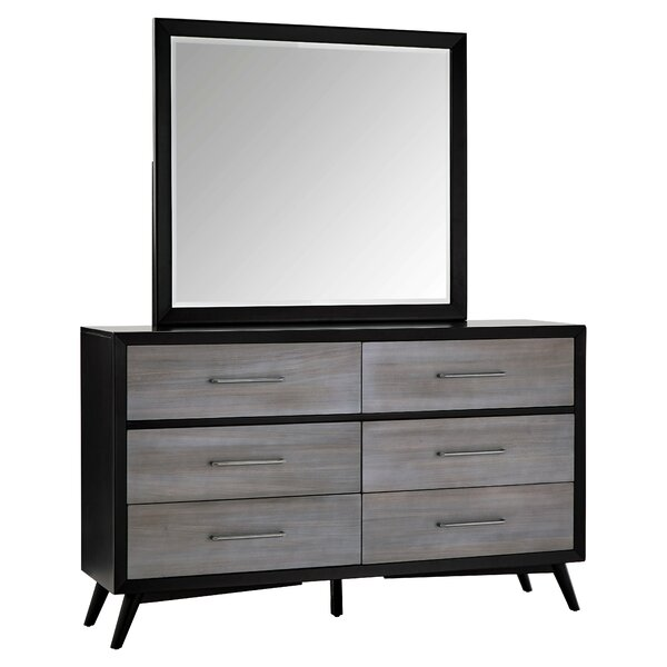 Alleya 6 Drawer Double Dresser with Mirror by Modern Rustic Interiors