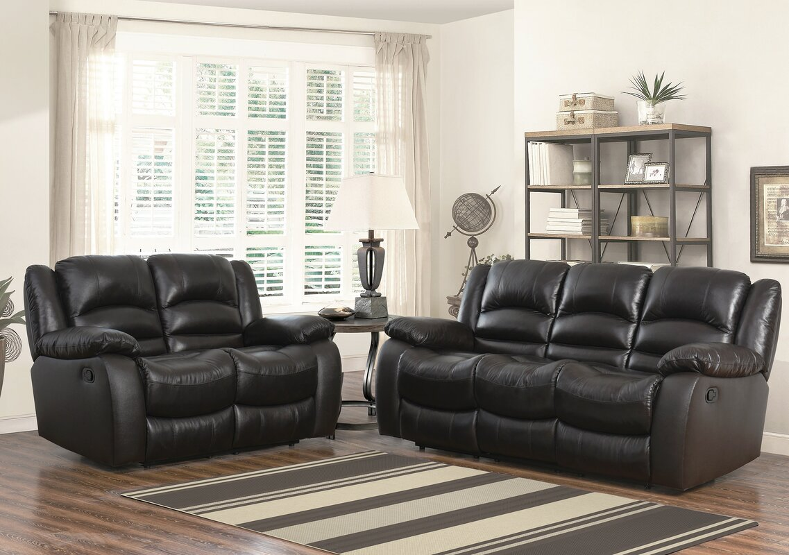 Darby home co jorgensen leather 2 piece living room set reviews wayfair 2 piece leather living room set