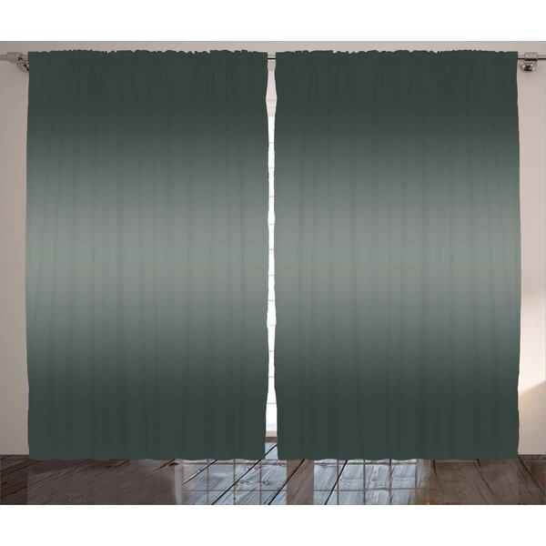 Cruce Ombre Fume Fog Dark Smoke Metal Theme Inspired Dark Gray Colored Modern Design Artprint Graphic Print & Text Semi-Sheer Rod Pocket Curtain Panels (Set of 2) by Latitude Run