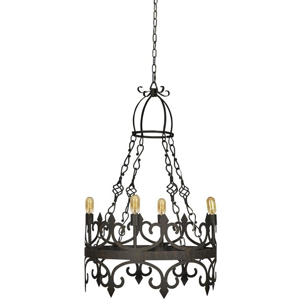 Venetian 4 - Light Candle Style Wagon Wheel Chandelier by ellahome ellahome