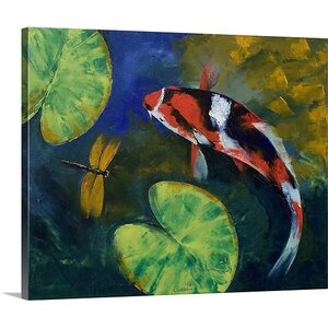 Showa Koi and Dragonfly by Michael Creese Painting Print on Canvas by Canvas On Demand