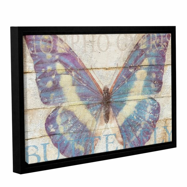 Butterfly Wood Series Framed Graphic Art on Wrapped Canvas by August Grove