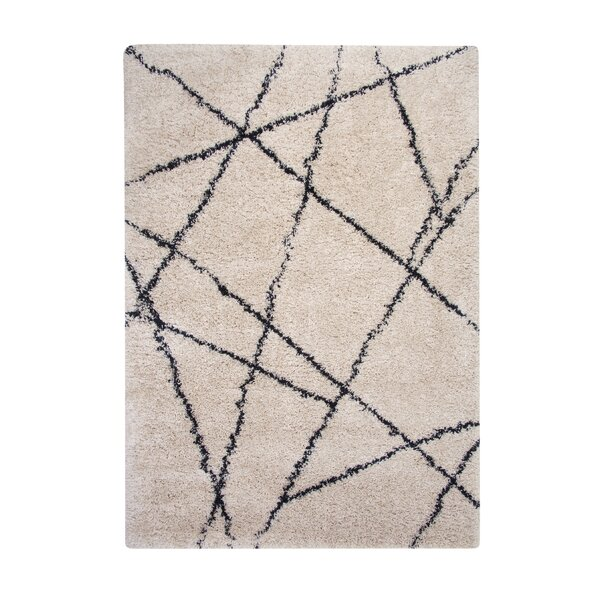 Tefft Shag/Flokati Synthetic Ivory/Blue Indoor Area Rug by Brayden Studio