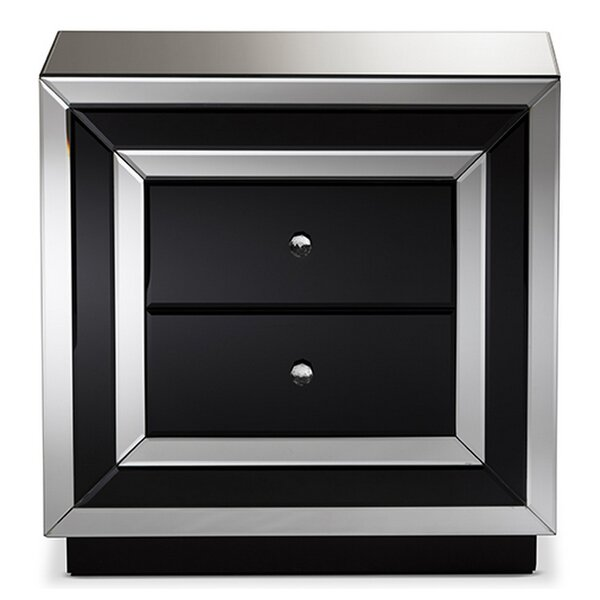 Glidewell Glamour 2 Drawer Nightstand by Everly Quinn