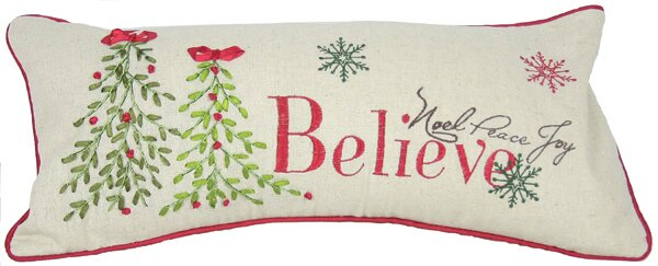 Holiday Believe with Christmas Tree Bolster Pillow by Xia Home Fashions