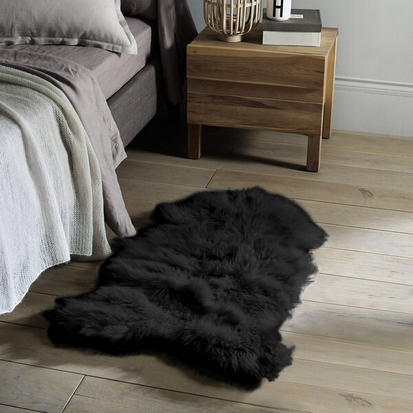 Tilley Faux Sheepskin Black Area Rug by Everly Quinn