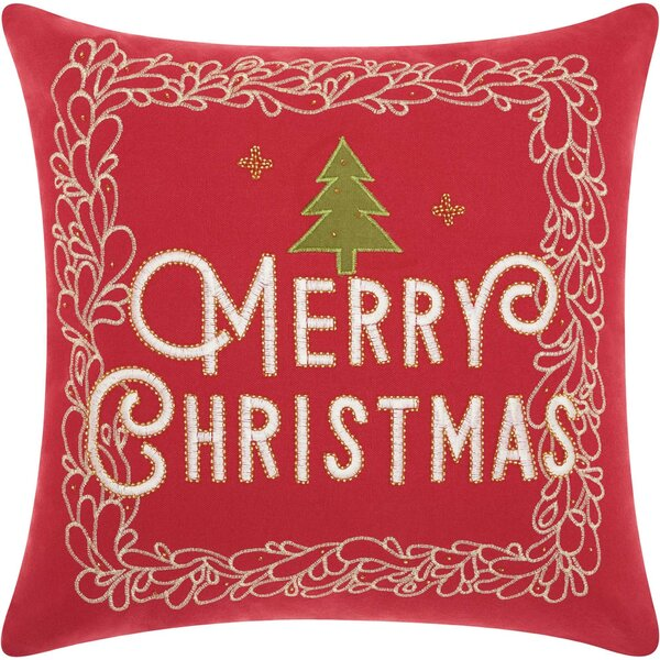 Leboeuf Merry Christmas Cotton Throw Pillow by The Holiday Aisle