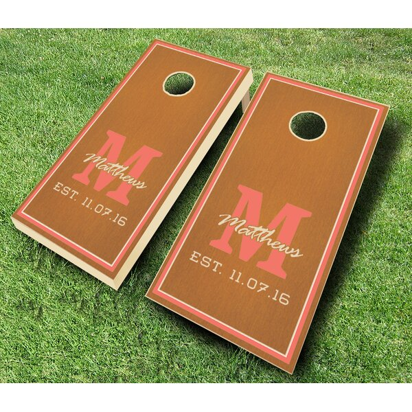 Monogram Wedding Rose Stained Cornhole Set by AJJ Cornhole