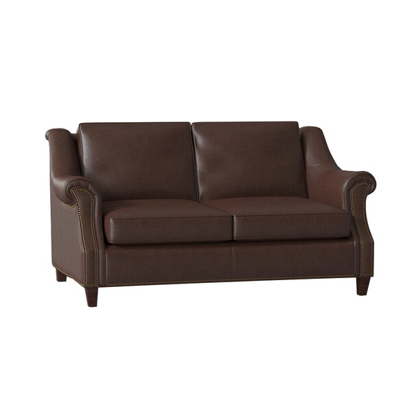 Reinsman Genuine Leather 67.5 Rolled Arm Loveseat