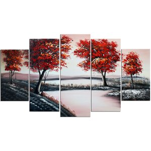 Pool in Flowery Valley' 5 Piece Painting on Wrapped Canvas Set by Design Art