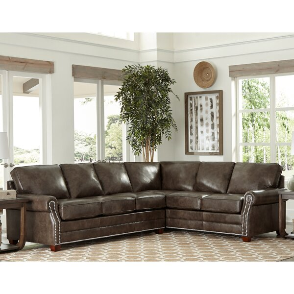 Susana Leather Sleeper Sectional by 17 Stories