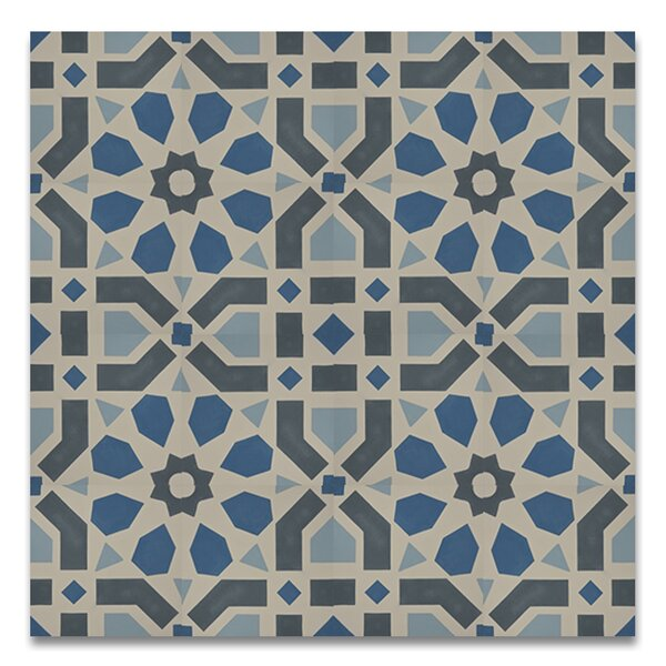Azilal 8 x 8  Handmade Cement Tile in Black/Blue by Moroccan Mosaic
