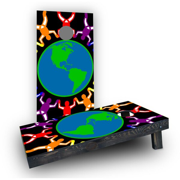 Gay Pride Rainbow People Around the Earth Cornhole Boards (Set of 2) by Custom Cornhole Boards