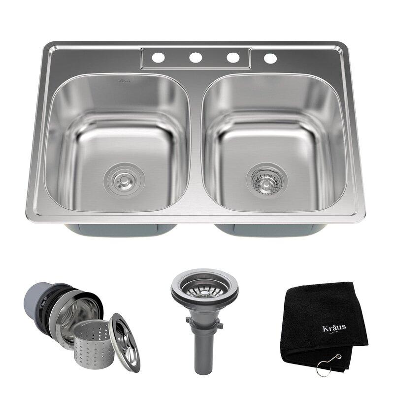 stainless steel 33   x 22   double basin drop in kitchen sink kraus stainless steel 33   x 22   double basin drop in kitchen sink      rh   wayfair com