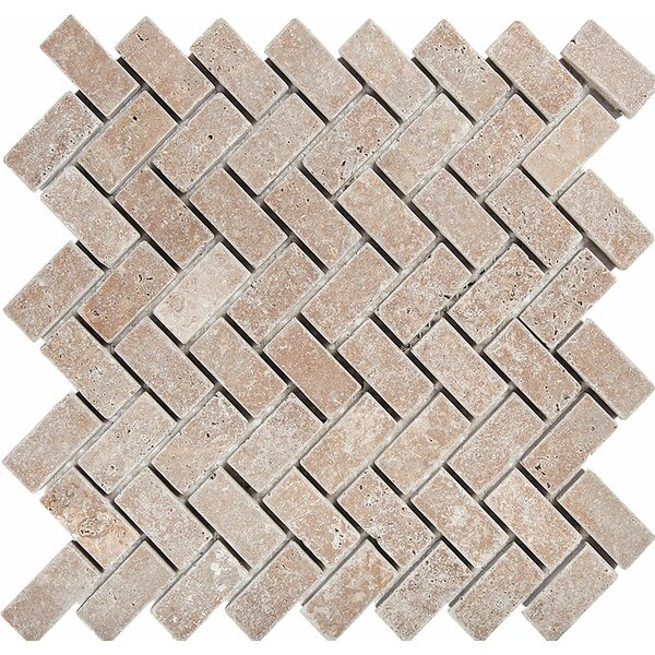 Herringbone 1 x 2 Stone Mosaic Tile in Noce Tumbled by Parvatile