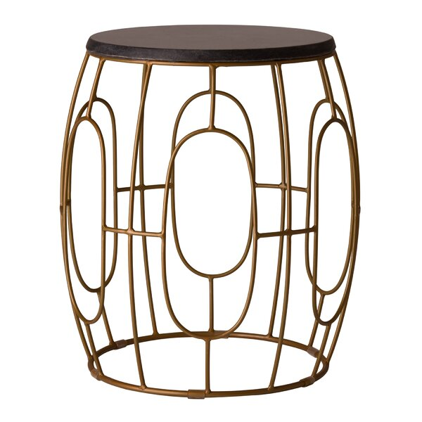 Kunal Iron Accent Stool by Everly Quinn