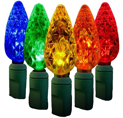 Standard Grade C6 Faceted LED Light Bulb by Queens of Christmas
