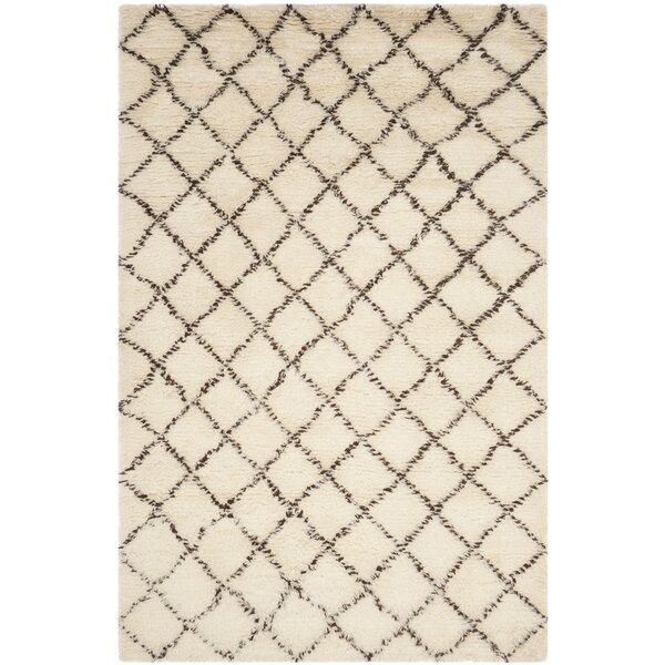 Lohan Hand-Woven Wool/Cotton Ivory/Dark Brown Area Rug by Brayden Studio
