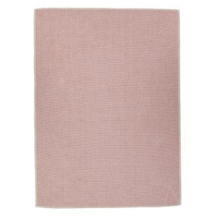 Taelyn Nature Cotton Solid Pink Area Rug