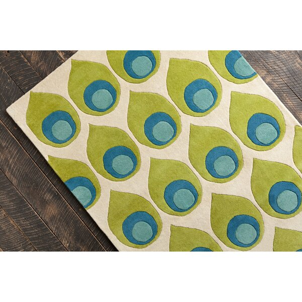 Willa Hand Tufted Wool Green/Blue Area Rug by Corr