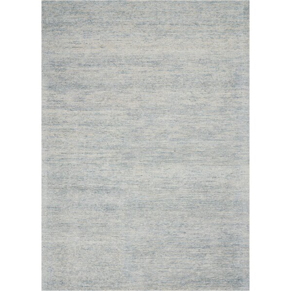 Romans Solid Hand-Tufted Aquamarine Blue Area Rug by Highland Dunes