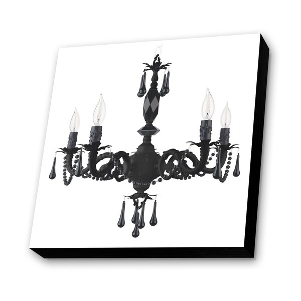 Chandelier with Background Graphic Art Plaque in White by Lamp-In-A-Box