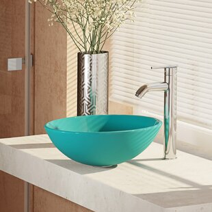 Compare Glass Circular Vessel Bathroom Sink with Faucet By René By Elkay